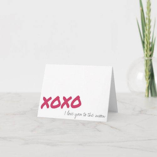 Valentine's Day Love You To the Moon XOXO Notecard