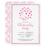 Valentine's Day Pink Hearts and Arrows Invitation