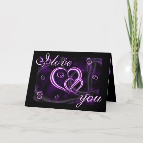 Valentine's Day Purple Hearts I LOVE YOU Holiday Card