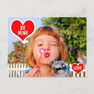 Valentines Girl Blowing Bubbles photo paint Holiday Postcard