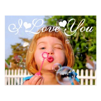 Valentines Girl Blowing Bubbles photo paint Post Cards