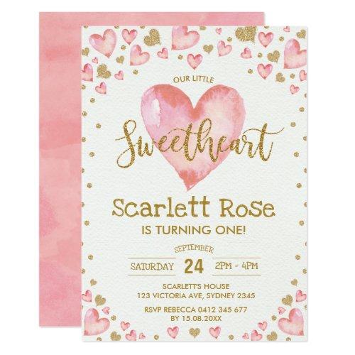Valentines Hearts Sweetheart 1st Birthday Invite