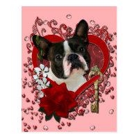 Valentines - Key to My Heart - Boston Terrier Postcard