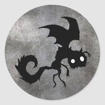 Vampire Cat Silhouette Classic Round Sticker