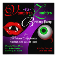 Vampires vs Zombies Halloween Birthday Invitations
