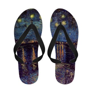 Van Gogh; Starry Night Over the Rhone, Vintage Art Flip Flops