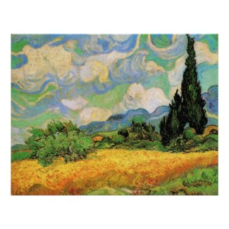 Van Gogh; Wheat Field w Cypresses at Haute Galline Print