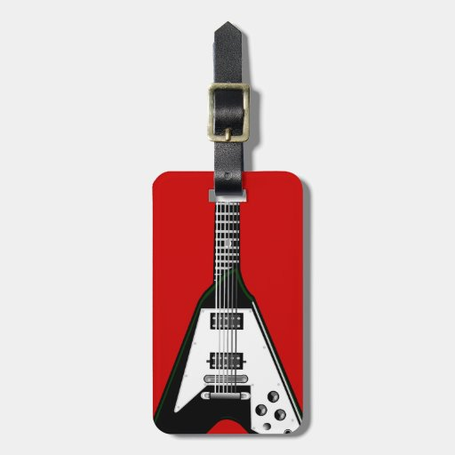 Vector guitar black/white luggage tag