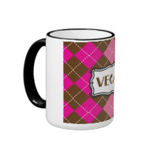 Vegan Pride Pink Brown Argyle mug