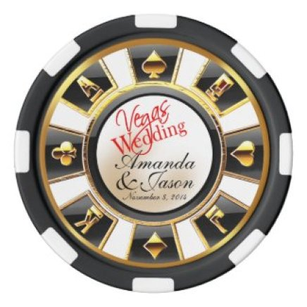 Vegas Wedding Casino white black gold Poker Chip Set