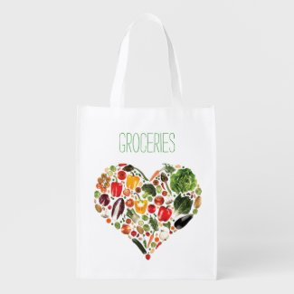 Veggie Heart Reusable Grocery Bag