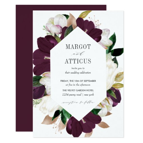 Velvet Magnolia and Ivory flower hexagon wedding Invitation