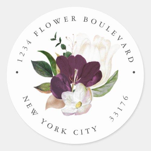 Velvet Magnolia Bouquet Botanical Return address Classic Round Sticker