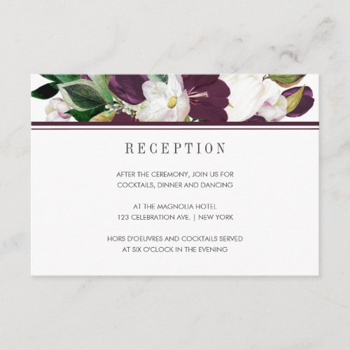 Velvet Magnolia Chic modern  wedding Reception Enclosure Card