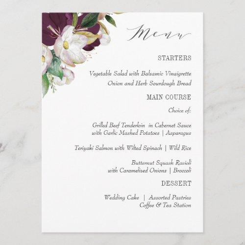 Velvet Magnolia Typography  Wedding or Dinner Menu