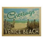 Venice Beach Vintage Travel Poster