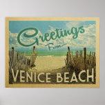Venice Beach Vintage Travel Poster
