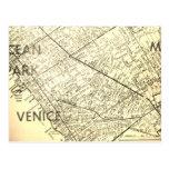 Venice, CA Vintage Map Postcard