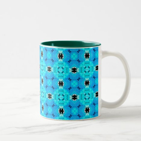 Vibrant Abstract Modern Aqua Blue Lattice Quilt Two-Tone Coffee Mug