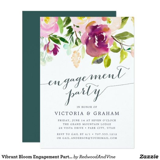 Vibrant Bloom Engagement Party Invitation