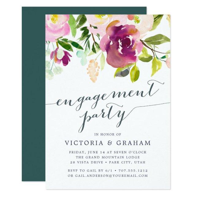 Vibrant Bloom Engagement Party Invitation
