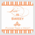 Vibrant Orange Love is Sweet Favor Sticker