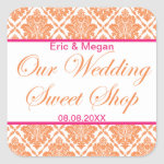 Vibrant Orange & Pink Damask Favor Sticker