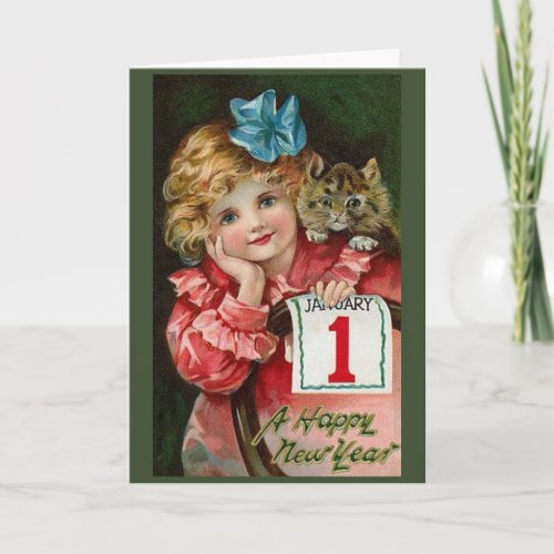 Victorian Child and Kitten New Year Greeting Card