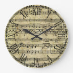 Victorian Music Sheet Wallpaper Clocks