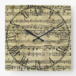 Victorian Music Sheet Wallpaper Square Wall Clocks
