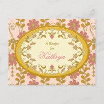 Victorian Pink Gold Recipe Card for the Bride