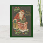 Victorian Santa on Chimney Greeting Cards