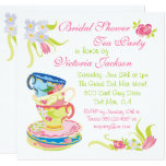 Victorian Stacked Tea Cups Tea Party Bridal Shower Invitation