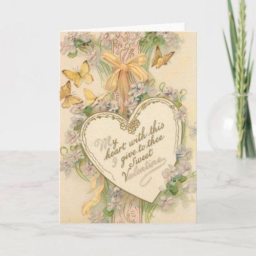 Victorian Valentine Heart Holiday Card