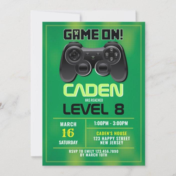 video game birthday invitation zazzle com