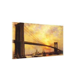 View of The Brooklyn Bridge by Emile Renouf Canvas Print