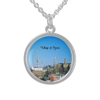 Village of Spires Round Pendant Necklace