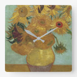 Vincent Van Gogh - Sunflowers, 1889 Square Wall Clock