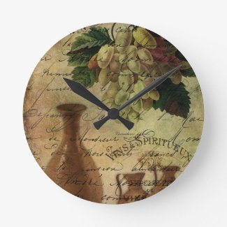 Vins Spiritueux, Nectar of the Gods Round Wall Clocks