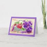 Vintage 1910 Purple Pansy Flowers Birthday Greeting Card