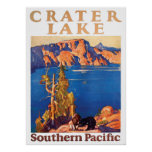 Vintage 1928 Crater Lake Southern Pacific Travel Poster