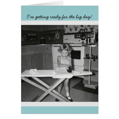 Vintage '50s Girl Ironing Congratulations Graduate Greeting Card
