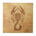 Vintage Aged Scorpio Zodiac Tile