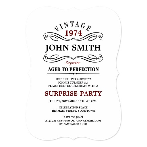 Vine Aged To Perfection Funny Birthday Invitation