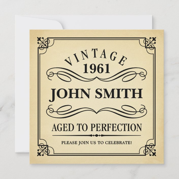 vintage aged to perfection funny birthday invite zazzle com