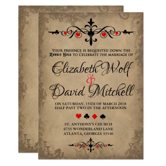 Vintage Alice In Wonderland Wedding Invitation