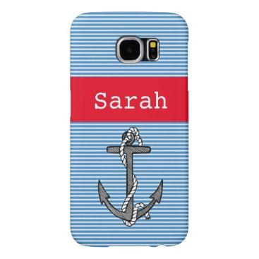 Vintage anchor nautical blue stripe custom name samsung galaxy s6 case