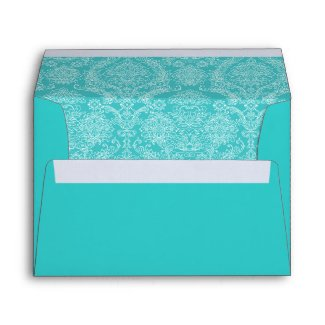 Vintage Aqua Damask Wedding Envelopes