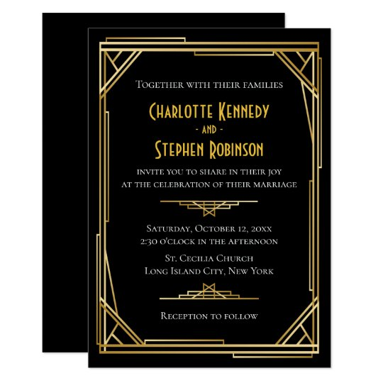 Vintage Art Deco Black Gold Great Gatsby Wedding Invitation