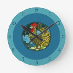 Vintage Art Nouveau Rooster Crowing in Night Blue Round Clock